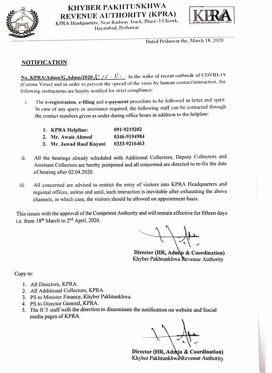 Notification regarding recent outbreak of COVID-19 and in order to prevent the spread of the virus by human interaction.